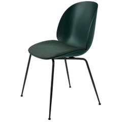 Beetle Dining Chair, Seat Upholstered, Conic Base, Matte Black