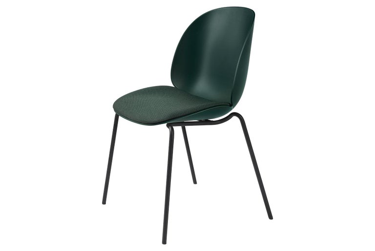 Mid-Century Modern Beetle Dining Chair, Seat Upholstered, Stackable Base, Matte Black For Sale