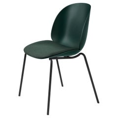 Beetle Dining Chair, Seat Upholstered, Stackable Base, Matte Black