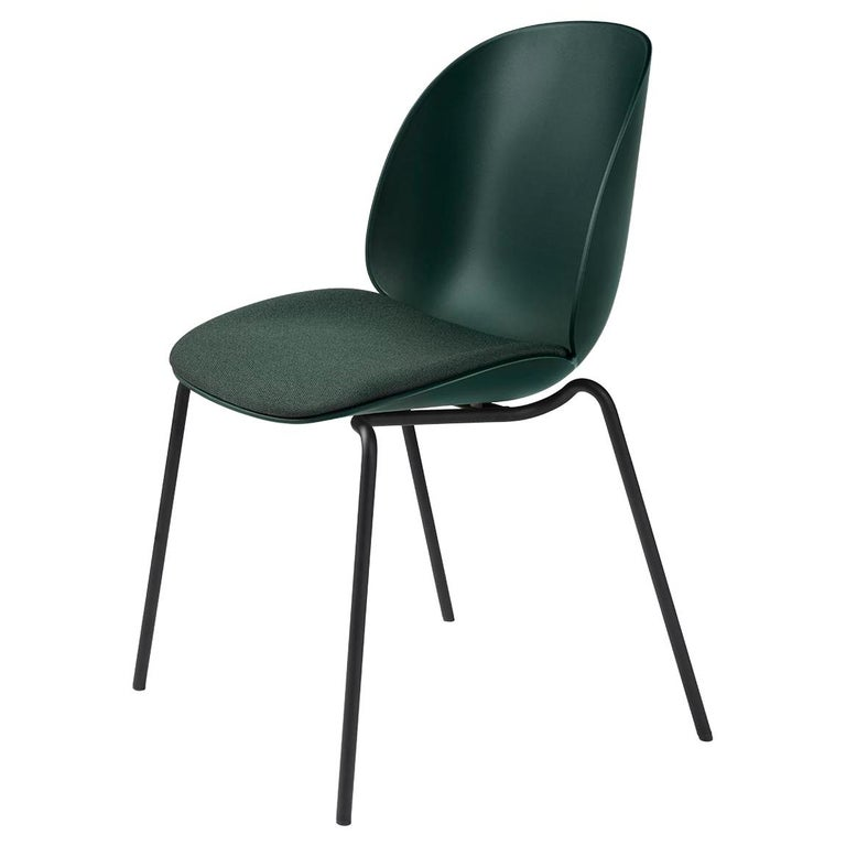 Beetle Dining Chair, Seat Upholstered, Stackable Base, Matte Black For Sale