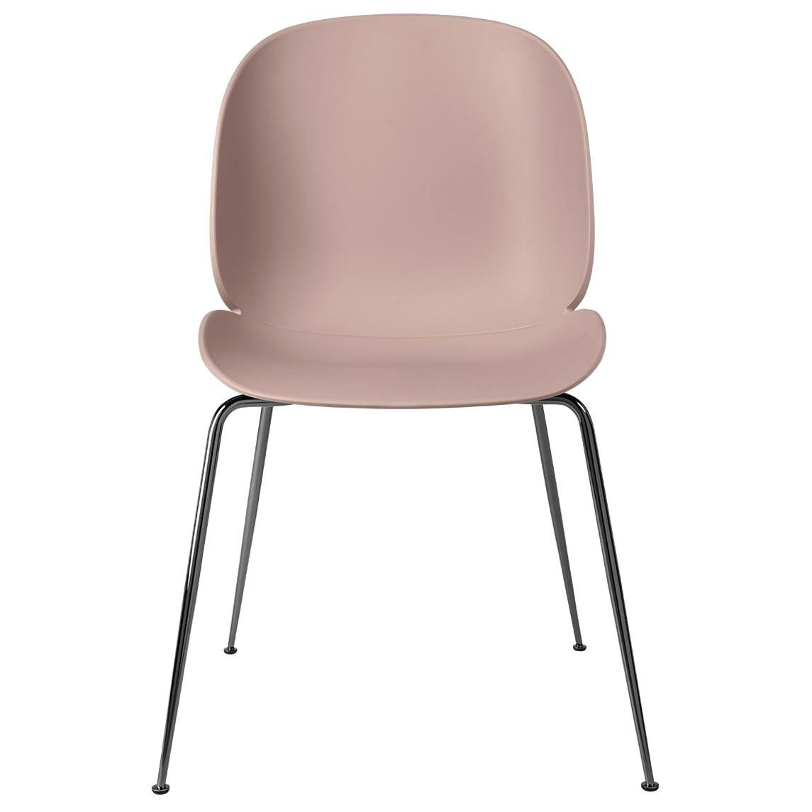 Beetle Dining Chair, Un-Upholstered, Conic Base, Black Chrome