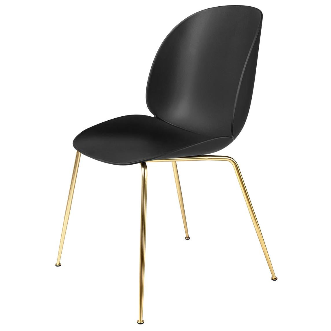 Beetle Dining Chair, Un-Upholstered, Conic Base, Brass Semi Matte
