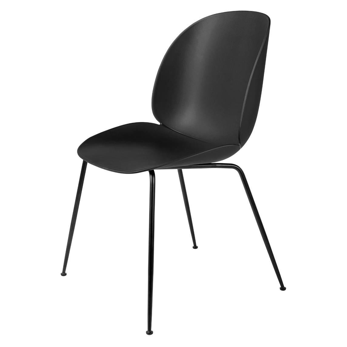 Beetle Dining Chair, Un-Upholstered, Conic Base, Matte Black