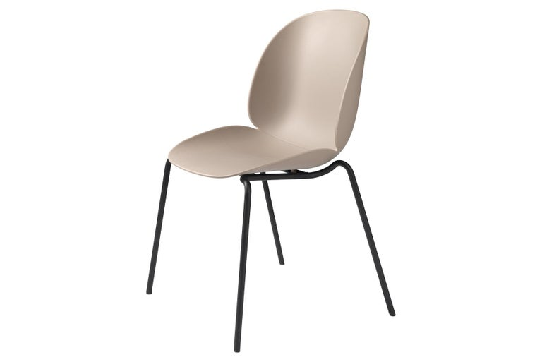 Mid-Century Modern Beetle Dining Chair, Un-Upholstered, Stackable Base, Matte Black For Sale
