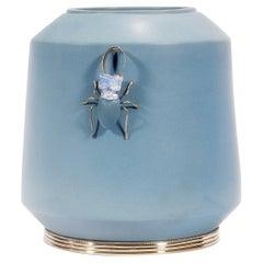 Beetle Jar by Estudio Guerrero, Glazed Ceramic and White Metal