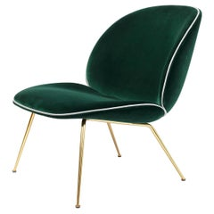 Beetle Lounge Chair, Fully Upholstered, Conic Base, Antique Brass