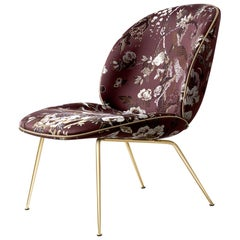 Beetle Lounge Chair, Fully Upholstered, Conic Base, Brass Semi Matte