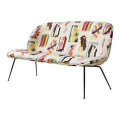 Beetle Sofa, Conic Base, Fully Upholstered with Matte Black Chrome Legs