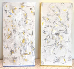 'Exhale,' by BeeZee, Two Companion Acrylic Canvas Abstract Paintings