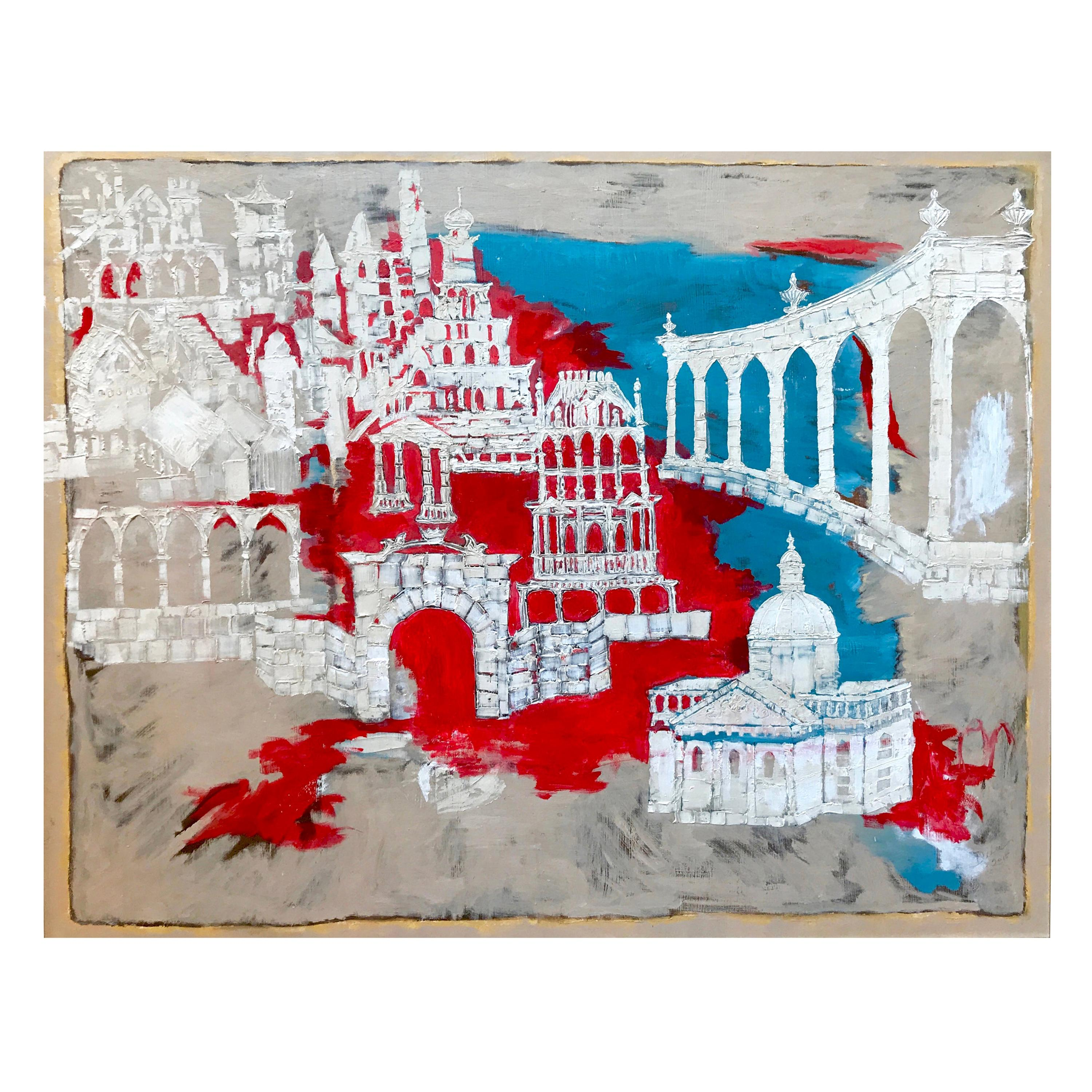"""""""Before the Ruin"""", 2017, Abstract Mixed-Media Painting, Red, Blue, White"""