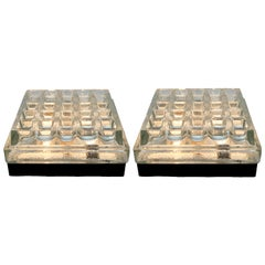 Bega, Pair of Two Square Flush Mounting Lights in Textured Glass, 1970s