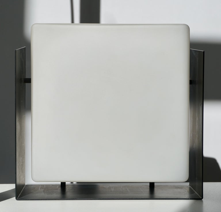 BEGA, Pair of Two Square Wall Lights in Glass and Metal, 1950s In Good Condition For Sale In Antwerp, BE