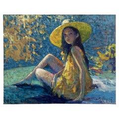"Begarat Eugene (XXth) ""The yellow hat"" / ""Le chapeau jaune"""