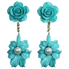 Begonia Flower Collection in Silver and Colored Stones Earrings