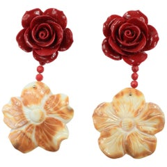 Begonia Flower Collection Red and Cornelian Earrings in Gold-Plated Silver