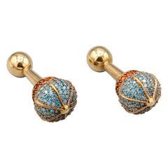 Begum Khan Colored Stone and Sapphire 18 Karat Gold Cufflinks