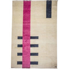 Behind - Geometric Handknotted Cream Beige Wool Rug in Pink Black by Carpets CC