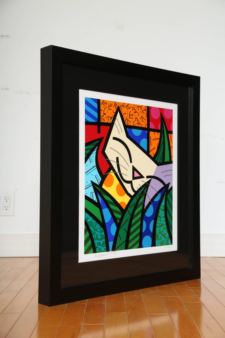 """Limited edition Pop Art silkscreen print by Romero Britto. Sold out edition titled """"Behind the Bushes"""", numbered 107/300. The serigraph features Britto's trademark bold colors with a cat as the central figure, behind tall blades of grass. Features"""