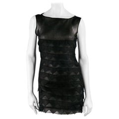 BEHNAZ SARAFPOUR Size 4 Black Silk Layered Texture Cocktail Dress