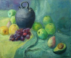 Still Life with Fruits apples, grapes and Avocado, Painting, Oil on Canvas