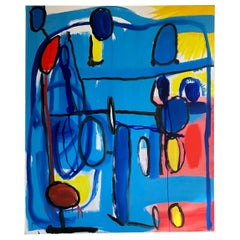 Behzad Haghiri Acrylic on Canvas Blue Abstract Modern Painting