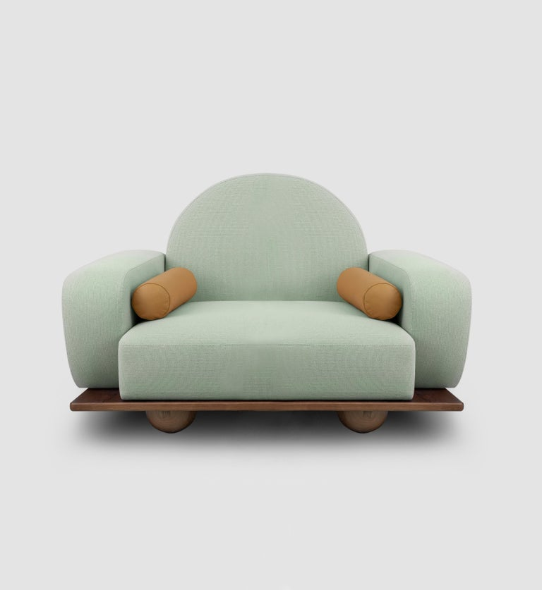 Contemporary Beice Armchair Pastel Blue For Sale