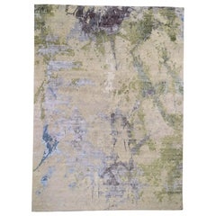 Beige Abstract Paint Brush Design Wool and Silk Hand Knotted Rug