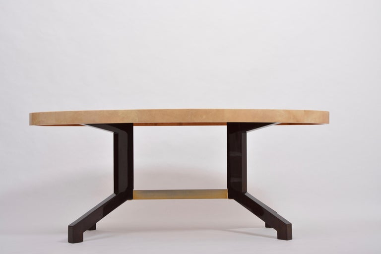 Mid-Century Modern Beige Aldo Tura Oval Dining Table in Lacquered Goatskin For Sale