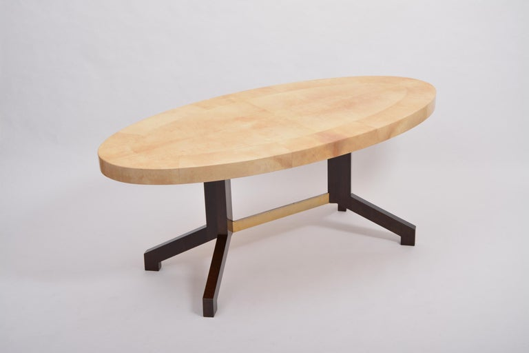 20th Century Beige Aldo Tura Oval Dining Table in Lacquered Goatskin For Sale