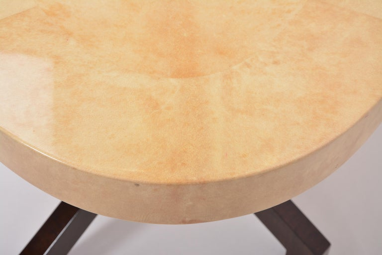 Beige Aldo Tura Oval Dining Table in Lacquered Goatskin For Sale 3