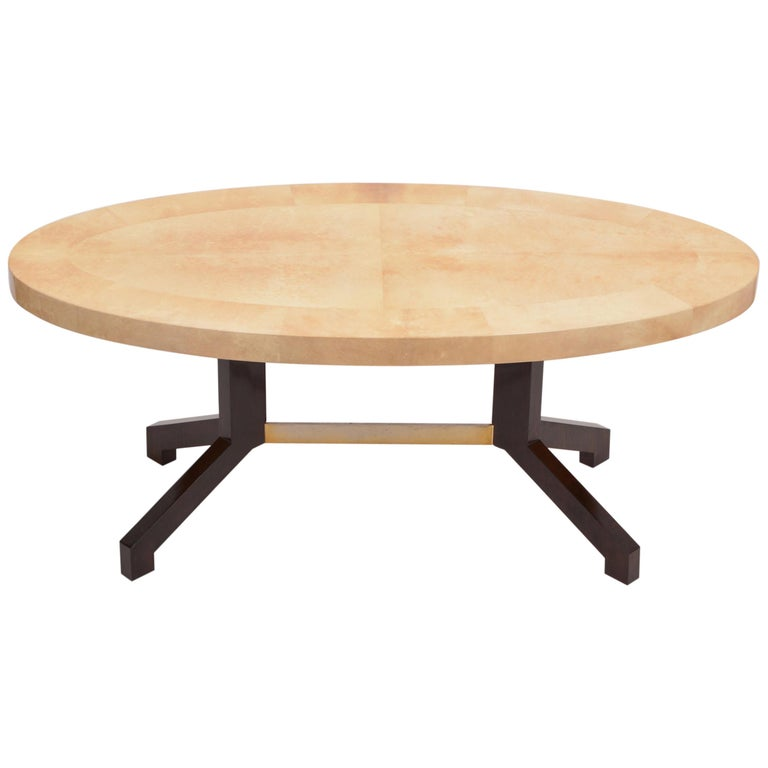 Beige Aldo Tura Oval Dining Table in Lacquered Goatskin For Sale
