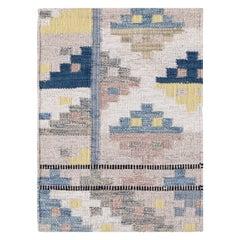Beige and Blue Wool Scandinavian Style Kilim Custom Rug