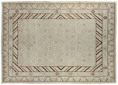 Beige and Brown Khotan Style Area Rug