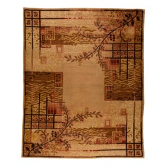 French Art Deco Mid Century Beige & Brown Handwoven Wool Rug