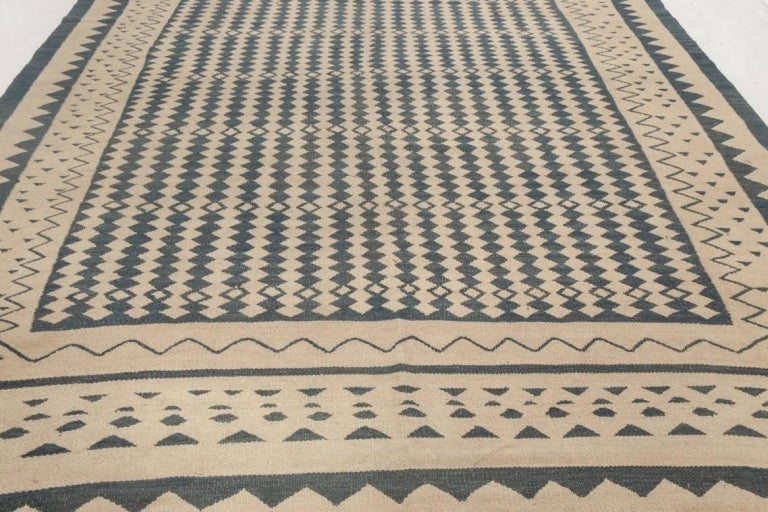 Hand-Knotted Beige and Dark Blue Modern Flat-Weave Rug For Sale