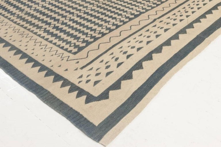 Contemporary Beige and Dark Blue Modern Flat-Weave Rug For Sale