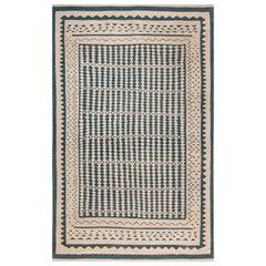 Beige and Dark Blue Modern Flat-Weave Rug