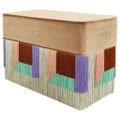 Beige and Purple Couture Geometric Flo Rectangular Pouf