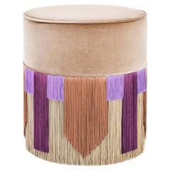 Beige and Purple Couture Geometric Tie Pouf