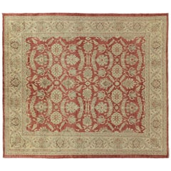 Beige and Red Traditional Style Wool Area Rug