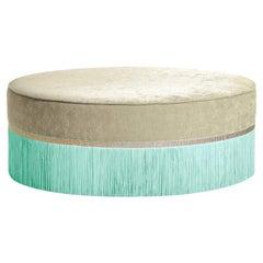 Beige and Sea Foam Couture Geometric Bicolor Pouf