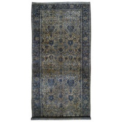 Beige Antique Persian Kerman Gallery Size Even Wear Hand Knotted Oriental Rug