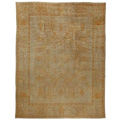 Beige Antique Turkish Oushak Rug
