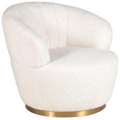 Beige Bouclé Fabric Mohair and Gilt Foot Armchair