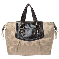 Beige/Brown Canvas and Patent Leather Madison Audrey Satchel