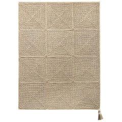 Beige Brown Outdoor Indoor Small Rug Handmade Crochet in UV Protected Yarn