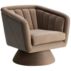 Beige Caprice Swivel Armchair Upholstered with Two Fabrics