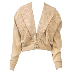 Beige Cashmere Cardigan with Lace