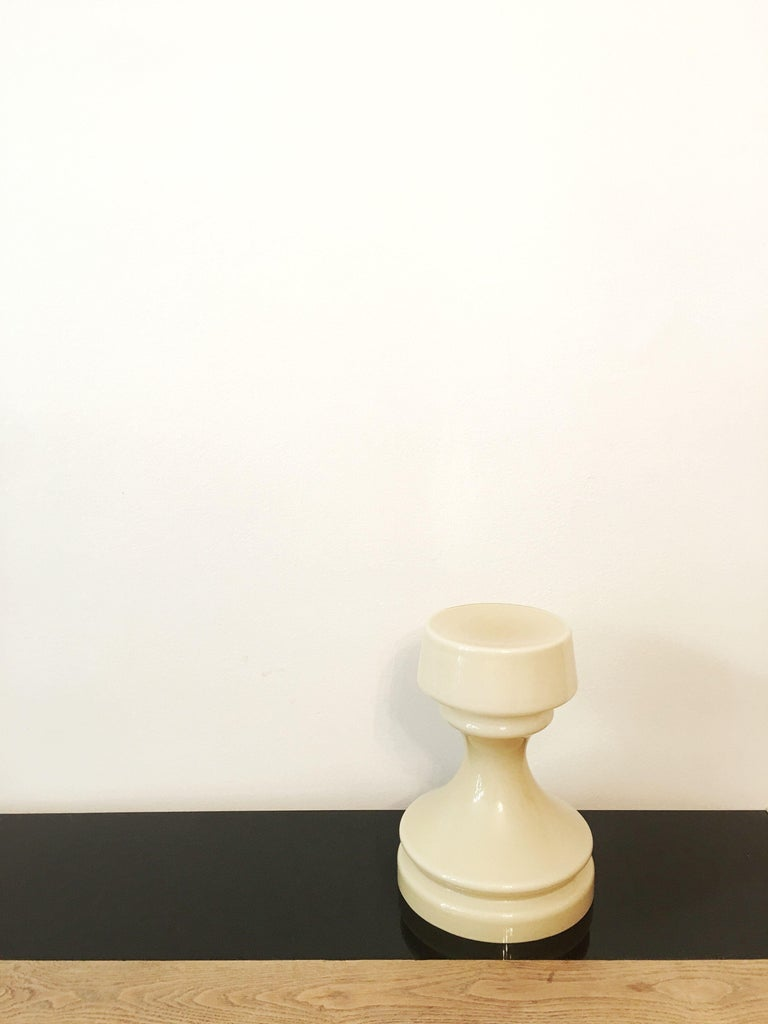 Beige Chess Glass Table Lamp by Ivan Jakes, 1960s In Excellent Condition For Sale In Prague, CZ