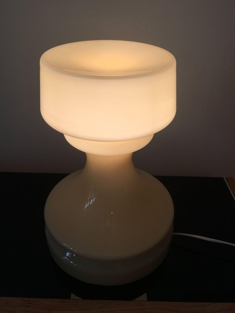 Beige Chess Glass Table Lamp by Ivan Jakes, 1960s For Sale 1